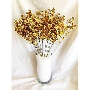 Floral Décor Supplies for 12 Baby's Breath ~ Gold ~ Gypsophila Silk Wedding Flowers Centerpieces Fillers for DIY Flower Arrangement Decorations