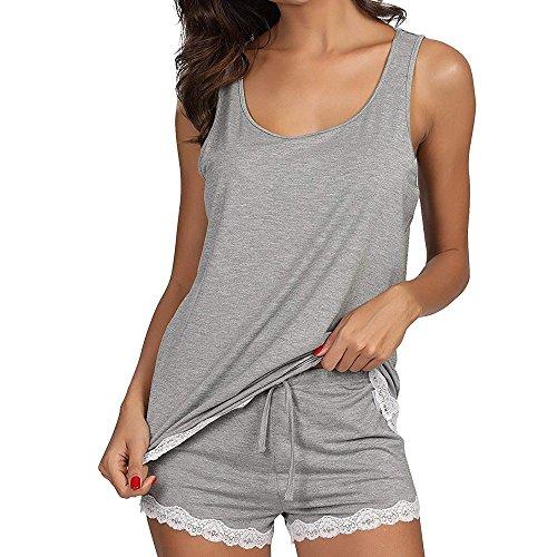 Proumy Pijama Gris Conjunto Mujer Algodón Verano Chaleco S