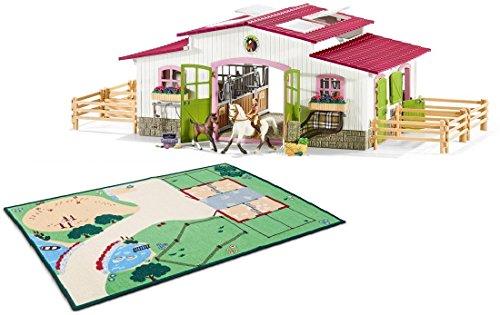 Schleich - Reiterhof mit Zubehör & Spielteppich als Set