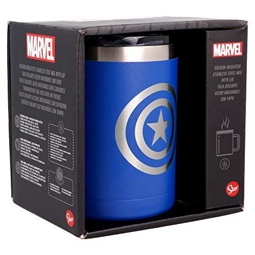 MARVEL | Taza termica de Acero Inoxidable - 380 ml - Taza termo cafe para llevar | Termo Reutilizable para Bebidas Frías/ Con aislamiento al vacío de doble pared y tapa sin BPA