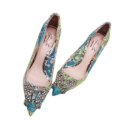 Aruna Seth Farfalla Ivory Lace Pointy Heeled Shoes (38 EU)