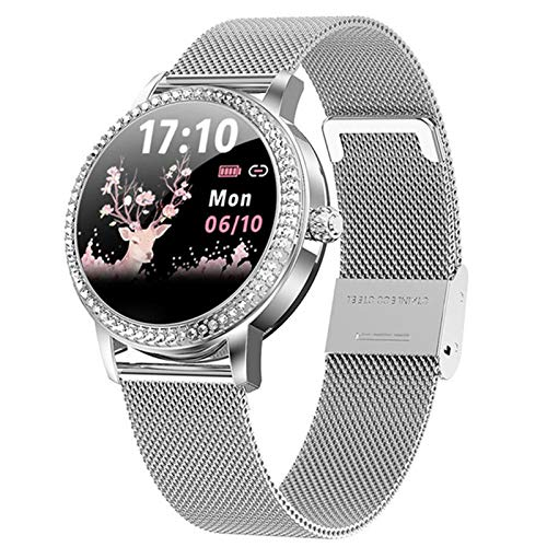 AKL Reloj Inteligente con Tachuelas diamantados 2021 Reloj Deportivo de Acero Lindo de Las Mujeres IP68 Pulsera de Aptitud Impermeable a Prueba de Agua LW20 SmartWatch,B