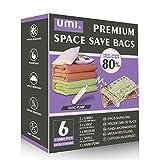 Amazon Brand - Umi Bolsas de compresión al vacío de varios tamaños con bomba de mano, ideales para ahorrar espacio, incluye 6 bolsas: 2 XL, 2 grandes, 1 mediana y 1 pequeña