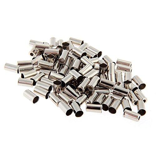 Dcolor 100pcs Embout Gaines Fixation Cable Frein Vitesse 5mm Metal Argent pour Velo