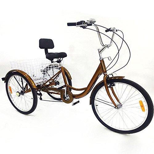 """BTdahong Triciclo Adultos de 6 Velocidades, Bicicleta con 3 Ruedas, Triciclo de Bicicleta de 24"""", Bicicleta de Aluminio con Respaldo Cesta"""