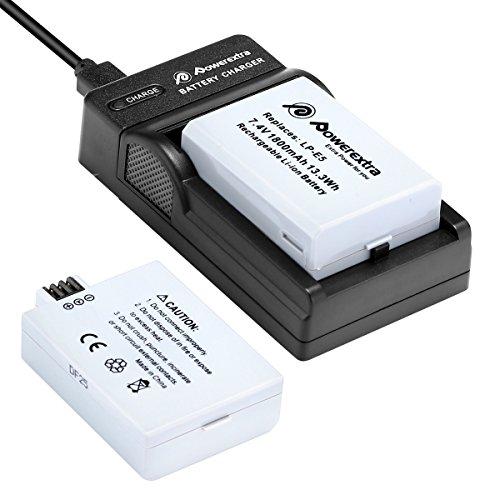 Powerextra Batería de Repuesto Canon LP-E5 7.4V 1800mAh Reemplazo Batería y Cargador para Canon EOS Rebel XS Rebel T1i Rebel XSi 1000D 500D 450D Kiss X3 Kiss X2 Kiss F