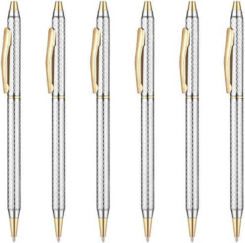 Unibene Slim Metallic Retractable Ballpoint Pens Carved Chrome Gold Nice Gift for Business Office product image