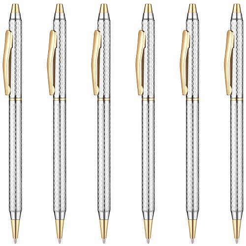 Unibene Slim Metallic Retractable Ballpoint Pens - Carved Chrome & Gold, Nice Gift for Business Office Students Teachers Wedding Christmas, Medium Point(1 mm) 6 Pack-Black ink