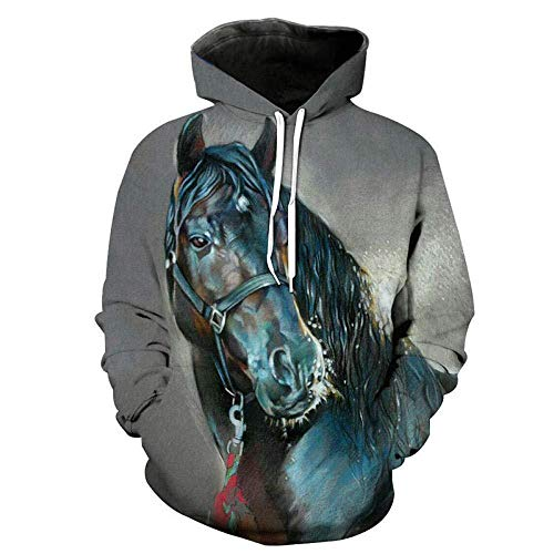 yyqx container Sweat-Shirt à Capuche 3D Cheval Hoodies d'impression 3D Unisexe Manches Longues Sweat-Shirts Respirants Cordon de Serrage réglable avec Kangourou Pocket-Color , 6XL