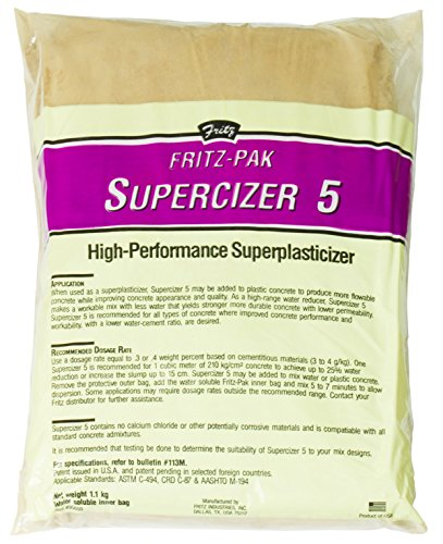 Fritz-Pak Concrete Superplasticizer Additive, 2.4lbs. Cement Water Reducer Improves Workability And Strength. Plasticizer Gives 6 in Slump Increase. Great for DIY Countertops, Slabs, Patios And Floors