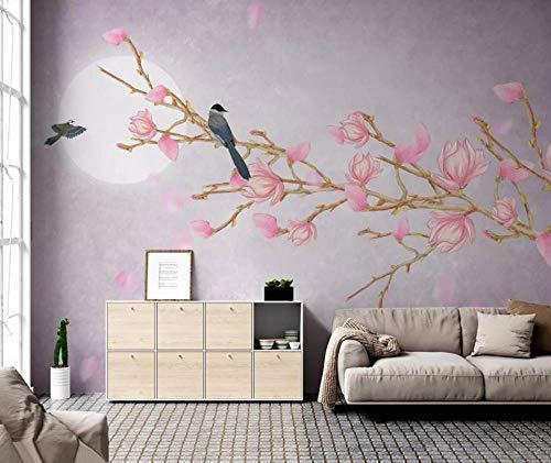 Papel Pintado 3D Pluma De Magnolia Rosa China Y Pájaro Flor Fotomural