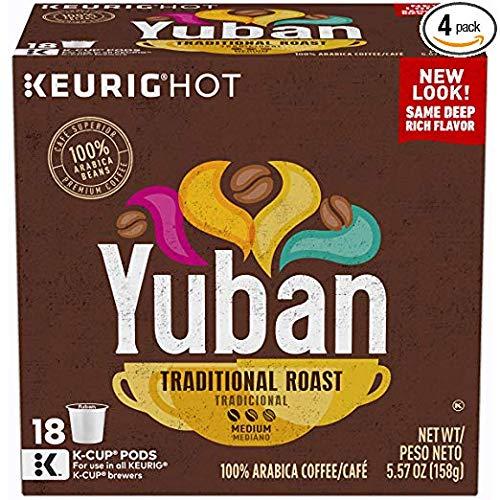 Yuban Gold Original Coffee, Medium Roast, K-Cup Pods, 18 Count (Pack of 4)