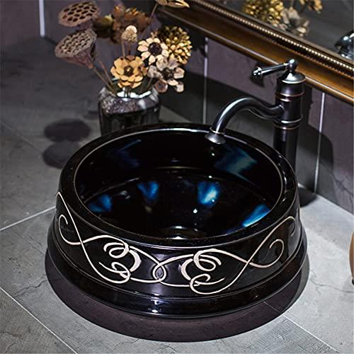 Svart Badrumsbassäng Kök Små Handfat runda Bänkskivan Garderob Bänkskåp för badrum Keramisk Handfat Tvätta handfat Retro 42x38x15cm