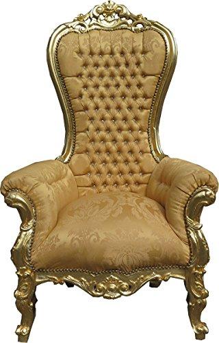 Casa Padrino Barock Thron Sessel Majestic Medium Gold Muster/Gold Mod2 mit Bling Bling Glitzersteinen - Riesensessel - Thron Stuhl Tron