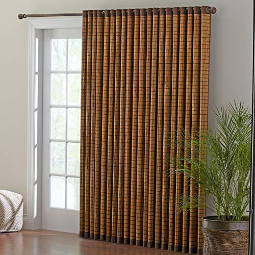 BrylaneHome Bamboo Grommet Panel Curtain Window Drape - 42I W 84I L, Honey Oak Brown