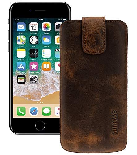 Suncase Original Ledertasche kompatibel mit iPhone 8 | iPhone 7 Tasche Case Schutzhülle Hülle (mit ZUSÄTZLICHER Transparent Hülle) in antik-Coffee