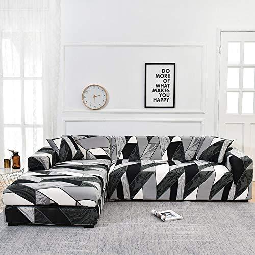 WXQY Chaise Longue Salon Housse de canapé Housse de canapé élastique Housse de canapé élastique Serviette d'angle en Forme de L Housse de canapé d'angle Serviette A9 3 Places