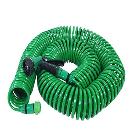 MYERZI Tubo de riego Irrigación del Resorte de Lavado de Coches Pistola de Agua de 8 Funciones con Boquilla 25FT Portable Flexible expansible Manguera de jardín Agua (Lengh : 7.5m)