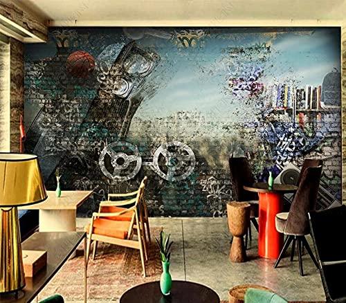 Papel tapiz fotográfico 3D personalizado mural calle baloncesto moda graffiti fondo pared sala de estar dormitorio decoración del hogar mural-300 * 210 cm