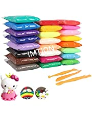 IMTION® ( Clay Set of 12 Colours Colors Air Dry Clay for Kids + Free Cartoon Striker ) DIY Ultra Light Modelling Bouncing Clay with Tools for Kids 12 Different Color Clay ((Clay Pack of 12 pcs ) DF)