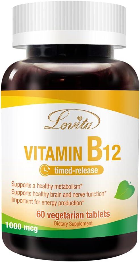 Lovita Vitamin B12 SALENEW favorite very popular 1000 mcg Cyanocobalamin Ti as Vitamins