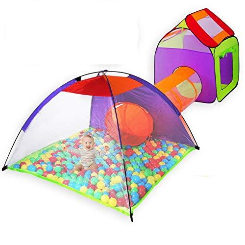 KIDIZ® Spielzelt Spielhaus Babyzelt 200 Bälle Bällebad Kinderzelt   Ideal für Zuhause & im Garten   Tasche   Tunnel (XXL)