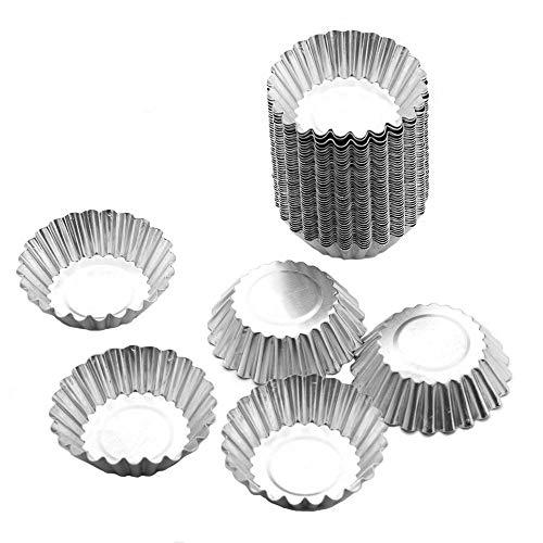 Tosnail 50pcs Egg Tart Aluminum Cupcake Cake Cookie Mold Tin Baking Tool Baking Cups