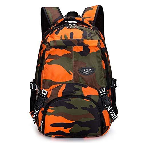 Bcony Camouflage Schulrucksäcke, orange Leichter Tagesrucksack aus Polyester-Oxford-Gewebe für Teenager Jungen Mehrfachtaschen-Tagesrucksack für Outdoor-Sportreisen