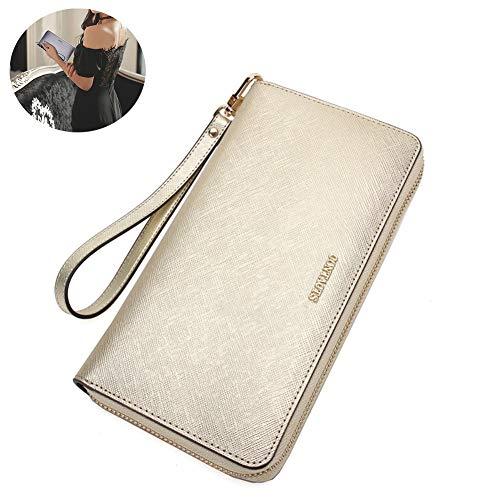 QQBB Lange dames portemonnee, lederen clutch tas, multifunctionele mobiele telefoon tas, vrouwelijke portemonnee portemonnee, geven vrienden, liefhebber, ideaal