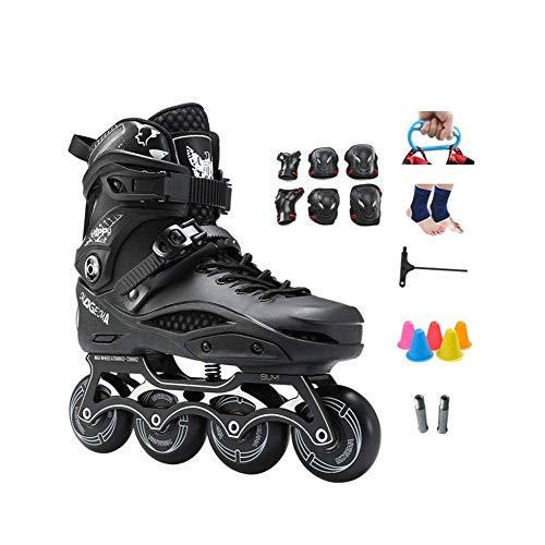 PIAOL Inline-Rollschuhe Für Anfänger Damen Herren Jugend Teen , Erwachsene Herren Freizeit Indoor Inline-Skates,Black-46CM