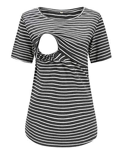 Love2Mi Still-Shirt Damen Umstandstop, Schwangeres Stillen Nursing Schwangerschaft Top Umstandsmode Layereddesign Wickeln-Schicht, Dunkelgraue Streifen, XL