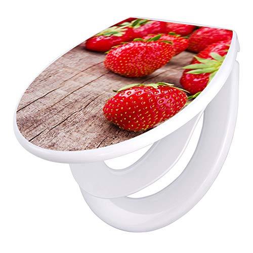 banjado Familien WC Sitz mit Absenkautomatik | Toilettendeckel mit Kindersitz | Klodeckel weiß | Toilettensitz mit Soft Close | 44 x 37 cm WC Deckel mit Motiv Erdbeeren
