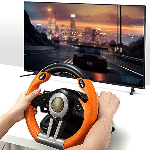HALASHAO Xbox one lenkrad mit pedalen, ps4 lenkrad mit Pedale und schaltung, PS4 / PS3 / Xbox ONE/Switch Lenkrad der Spielkonsole,Orange