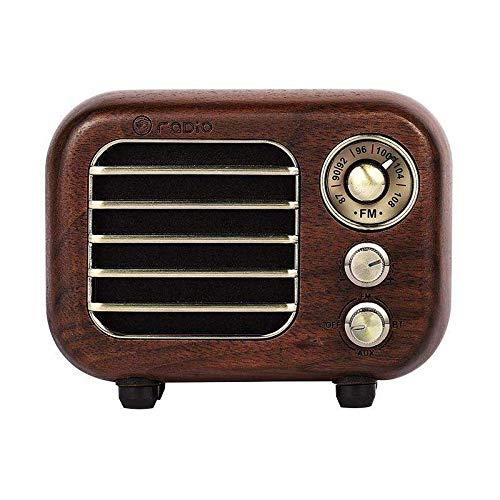SBDLXY Retro Radio Bluetooth Pequeño Altavoz Vintage Radio Receptor portátil Old Fashioned Classic Walnut Wooden Player Regalos