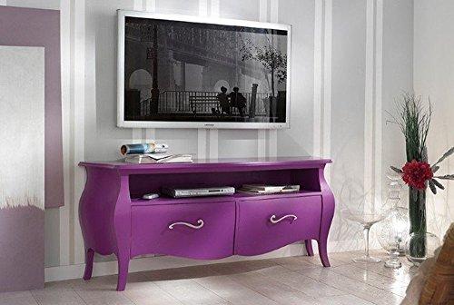 TV-Wohnwand Wohnzimmer Holz 2Schubladen gewölbt und offenes Fach