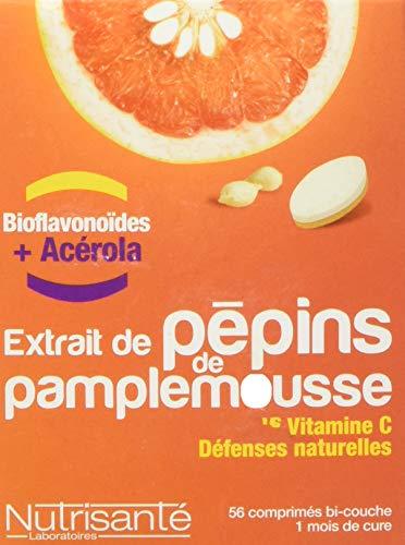 Nutrisanté - Extrait de Pépins de Pamplemousse Epp + Vitamine C : Défenses Naturelles • 56 Comprimés • Concentré en Bioflavonoïdes