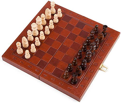 Aocean Juego de ajedrez, Juego de ajedrez para Adultos y niños, Tablero de ajedrez de Madera 3 en 1 con ajedrez, Damas, n para niños y Adultos, Tablero de Juego Plegable y portátil f
