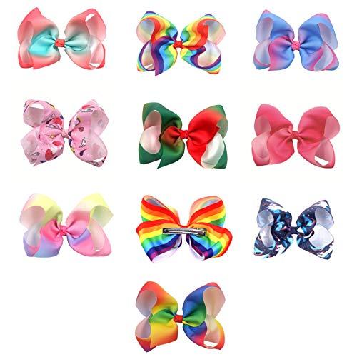 Giftik Juego de 10 horquillas para el pelo para niñas, 6 pulgadas, juego de arco iris hecho a mano para niños, juego de decoraciones para el cabello, nudo escolar