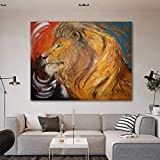 ganlanshu Pintura sin Marco León Arte Animal Pintura al óleo Lienzo Mural Sala de Estar Dormitorio Moderno decoraciónCGQ8757 40X50cm