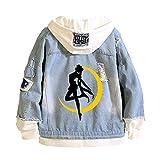 Anime Sailor Moon Jeans Jacket Tsukino Usagi Hooded Sweatshirt Men Trucker Jacket (S, ailor- Moon-1)