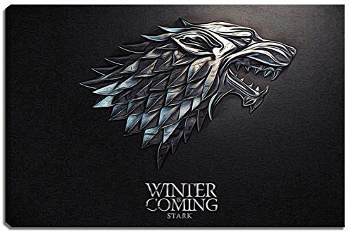 Stark, Game of Thrones Motiv Dark Motiv auf Leinwand im Format: 120x80 cm. Hochwertiger Kunstdruck als Wandbild. Billiger als ein Ölbild! ACHTUNG KEIN Poster oder Plakat!