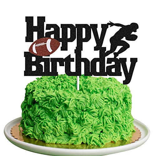 Football Cake Topper Rugby Ball Happy Birthday Sign Cake Fruit Muffin Picks for Super Bowl Party Decor Touchdown Sport Themed Game Day Party Supplies Decorations ball Cake Toper)