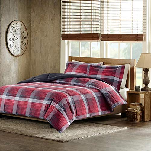 Urban Living Red & Gray Plaid Boys Reversible Full/Queen Comforter & Shams (3 Piece Bedding) + Homemade Wax Melts