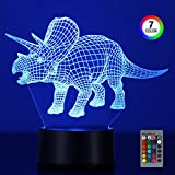 Dinosaur 3D Night Lights for Boys Girls, 16 Colors Illusion Table Lamp with Remote Control, Dimmable and Flashing Mode Adjustable, LED Visual Nightlight for Kids Gifts