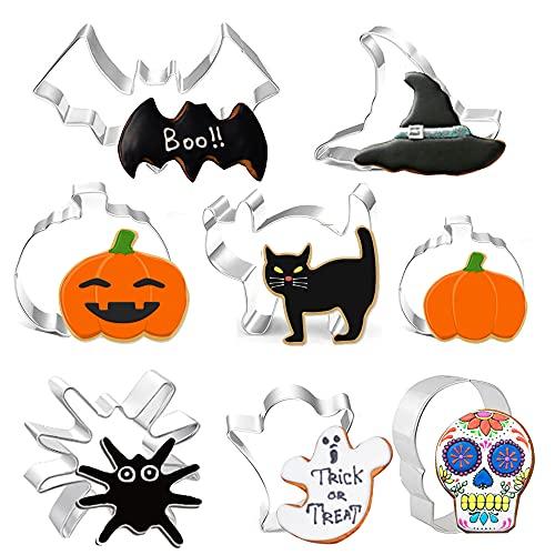 Formine Biscotti Halloween Set di 8 Stampi Biscotti Halloween, Stampini per Biscotti para Pastel, Cookie, Fondant - zucca, pipistrello,fantasma,gatto,cappello da strega,caramelle,ragno e teschio