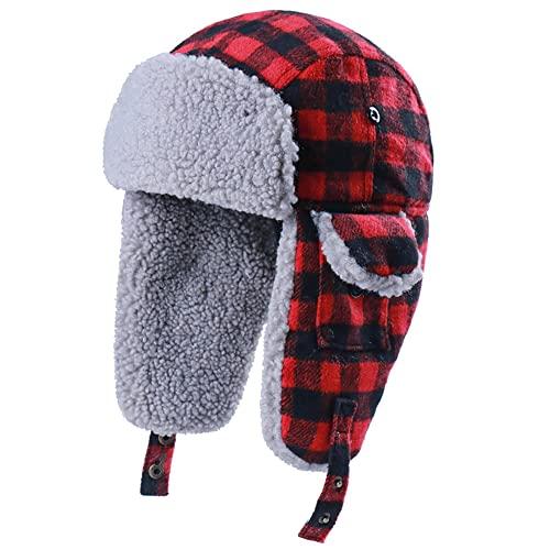 Eco Memos Sombrero de cazador a cuadros para cabeza, tamaño 56-60 cm, unisex, con solapa para orejas para actividades al aire libre de invierno, rosso, L