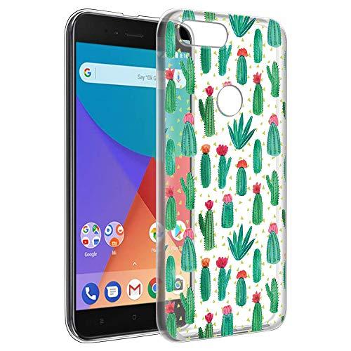 Cover Xiaomi Mi A1, Eouine Custodia Cover Trasparente con Disegni Ultra Slim TPU Silicone Morbido Antiurto Sottile 3d Cartoon Bumper Case per Xiaomi Mi A1 5,5 pollici Smartphone (Cactus)