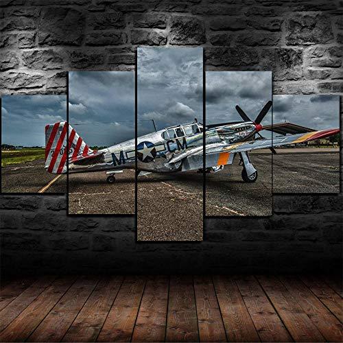 HGYG Moderno En Lienzo 5 Piezas XXL 150X80 Cm Vintage Aircraft Old Plane 5 Piezas Material Tejido No Tejido Impresión Artística Imagen Gráfica Decor Pared