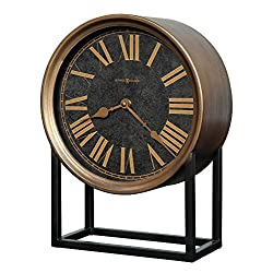 Howard Miller Sundie Accent Mantel Clock 635-220 – Antique Brass Finished Case, Aged Black Wrought Iron Stand, Metal Timepiece, Antique Home Décor, Quartz Movement