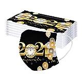 Erwachsene Silvester Einmal Gesichtbandana mit Nasenstreifen 2021 Frohes Neues Jahr Drucken Komfortabel Verstellbarer Atmungsaktiv 3-Schicht-Filter Staubdicht Gesichtbandana (30 PCS)